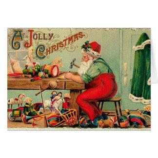 Vintages Weihnachten an Sankt Werkstatt Karte