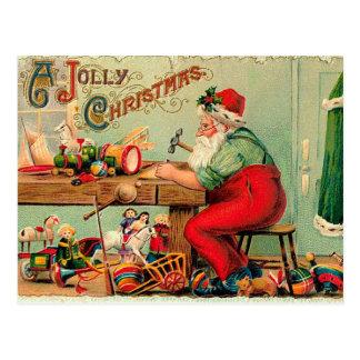 Vintages Weihnachten an Sankt Werkstatt Postkarte