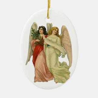 Vintages Weihnachten, antiker viktorianischer Ovales Keramik Ornament