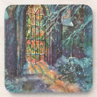 Vintages Weihnachten, beflecktes Glasfenster in Getränke Untersetzer