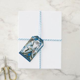 Vintages Weihnachten, blauer Weihnachtsmann mit Geschenkanhänger