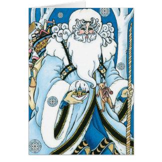 Vintages Weihnachten, blauer Weihnachtsmann mit Karte