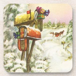 Vintages Weihnachten, Briefkästen in der Drink Untersetzer