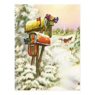 Vintages Weihnachten Briefkästen in der Postkarten