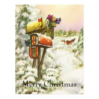 Vintages Weihnachten, Briefkästen in der Postkarte