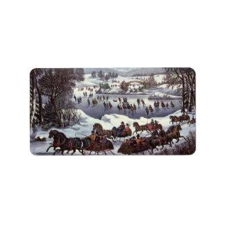 Vintages Weihnachten, Central Park im Winter Adressaufkleber
