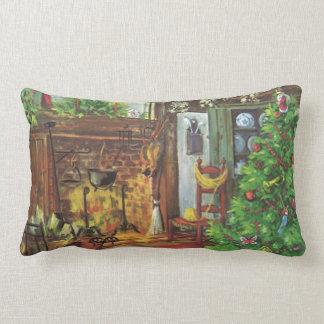 Vintages Weihnachten, Cozy Klotz-Kabine mit Kamin Lendenkissen