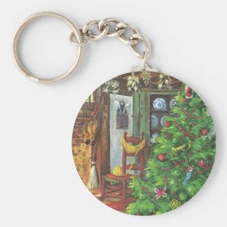 Vintages Weihnachten, Cozy Klotz-Kabine mit Kamin Schlüsselanhänger