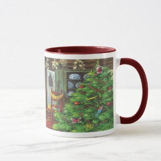 Vintages Weihnachten, Cozy Klotz-Kabine mit Kamin Tasse