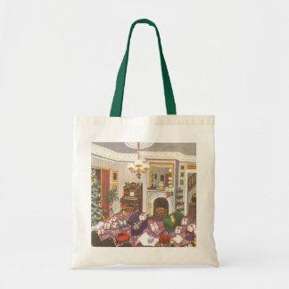 Vintages Weihnachten, das Geschenke im Wohnzimmer Tragetasche