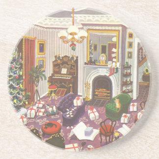 Vintages Weihnachten, das Geschenke im Wohnzimmer Getränke Untersetzer