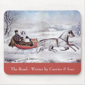 Vintages Weihnachten, der Straßen-Winter, Mauspad