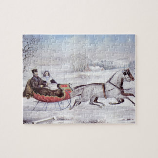 Vintages Weihnachten, der Straßen-Winter, Puzzle
