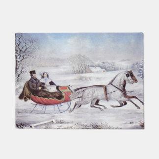 Vintages Weihnachten, der Straßen-Winter, Türmatte