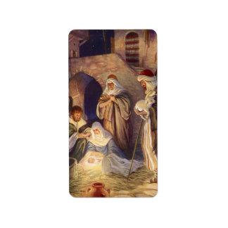 Vintages Weihnachten, drei Schäfer und Baby Jesus Adressaufkleber