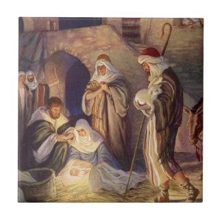 Vintages Weihnachten, drei Schäfer und Baby Jesus Fliese