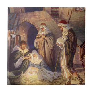 Vintages Weihnachten, drei Schäfer und Baby Jesus Kleine Quadratische Fliese