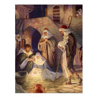 Vintages Weihnachten, drei Schäfer und Baby Jesus Postkarte