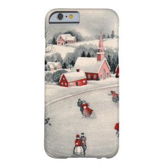 Vintages Weihnachten, Eis-Skaten-Skater gefrorener Barely There iPhone 6 Hülle