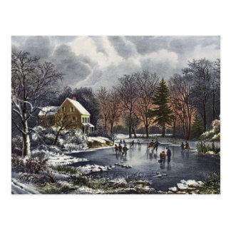Vintages Weihnachten, frühe Winter-Skater auf Postkarte