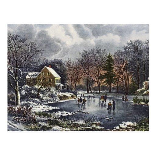 Vintages Weihnachten, früher Winter, Skater auf Postkarten