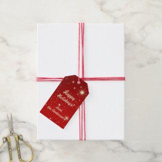 Vintages Weihnachten, glänzende Sterne in der Geschenkanhänger