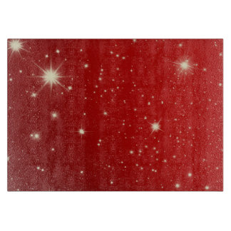 Vintages Weihnachten, glänzende Sterne in der Schneidebrett