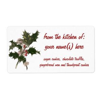 Vintages Weihnachten, grüne Stechpalmen-Pflanze