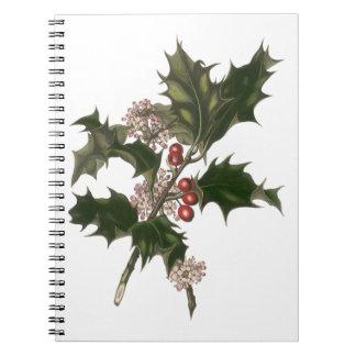 Vintages Weihnachten, grüne Stechpalmen-Pflanze Notizblock