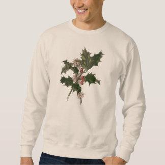 Vintages Weihnachten, grüne Stechpalmen-Pflanze Sweatshirt