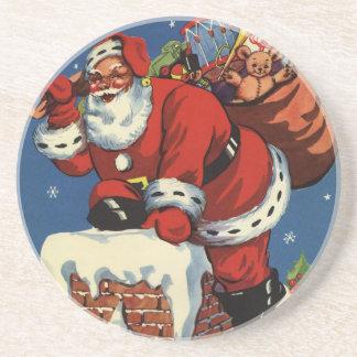 Vintages Weihnachten, Kamin w Weihnachtsmanns Sandstein Untersetzer
