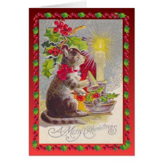 Vintages Weihnachten, Katze und Dekorationen Karte