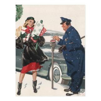 Vintages Weihnachten, kaufengeschenk-Polizist Postkarte