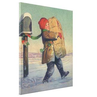 Vintages Weihnachten, Kind mit großem Paket Leinwanddruck