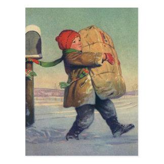 Vintages Weihnachten, Kind mit großem Paket Postkarten