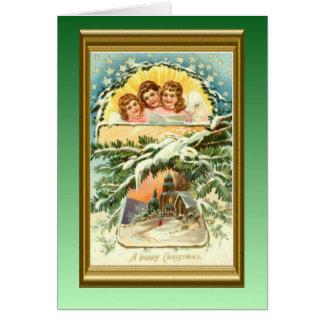 Vintages Weihnachten, Kirche und Chor der Replik Karte
