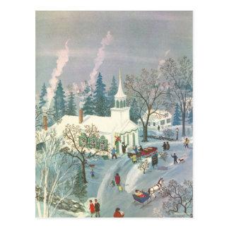 Vintages Weihnachten, KircheGoers am Postkarte