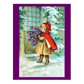 Vintages Weihnachten - kleines Mädchen mit Postkarte