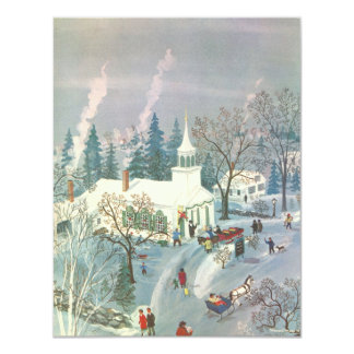 Vintages Weihnachten, Leute, die zur Kirche im Karte