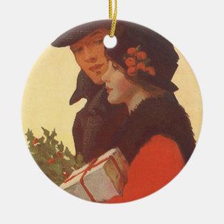 Vintages Weihnachten, Liebe und Romance Rundes Keramik Ornament