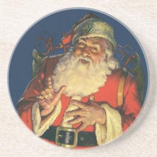 Vintages Weihnachten, lustiger Weihnachtsmann mit Bierdeckel