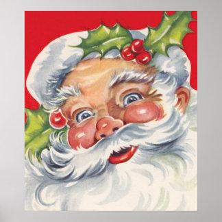 Vintages Weihnachten, lustiger Weihnachtsmann mit Poster