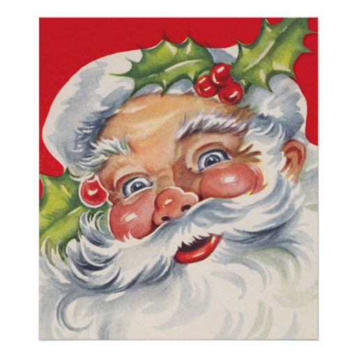 Vintages Weihnachten, lustiger Weihnachtsmann mit  Plakatdruck
