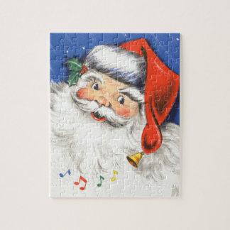 Vintages Weihnachten, lustiger Weihnachtsmann mit Puzzle