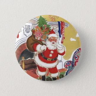 Vintages Weihnachten, lustiger Weihnachtsmann mit Runder Button 5,1 Cm