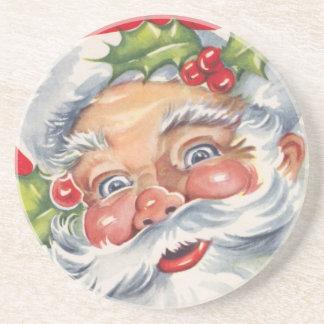 Vintages Weihnachten, lustiger Weihnachtsmann mit Getränkeuntersetzer