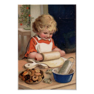 Vintages Weihnachten - Mädchen-Backen-Plätzchen Posterdruck