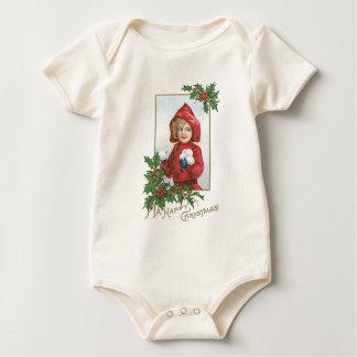 """Vintages Weihnachten """"Mädchen mit Schneebällen """" Baby Strampler"""