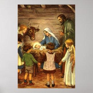 Vintages Weihnachten, religiöses Baby Jesus des Poster