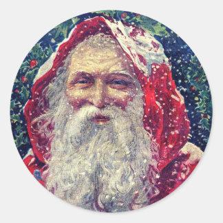 Vintages Weihnachten Sankt in den Runder Aufkleber
